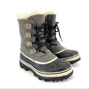 Sorel: gray waterproof leather Caribou boot (7)